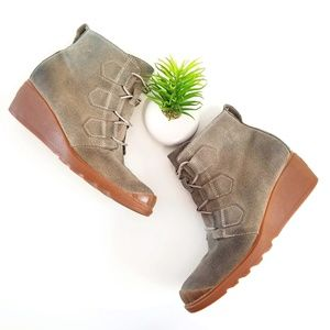 Sorel Toronto Wedge Suede Ankle Boot Booties Green